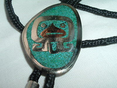 Vintage Mexico Turquoise Copper And Sterling Silver Mayan