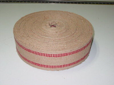 72 Yard Roll 3 1/2 inch 11 lb Red Stripe Upholstery Jute Chair Seat Webbing