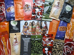 Lot of 35 Indoor Tanning Bed Lotion Sample Packets Mixed Lot Premium Products