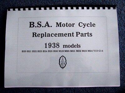 BSA 1938 Parts Book for B20 - B25 and M20 - M24 models Y13 and G14 - PWBP10