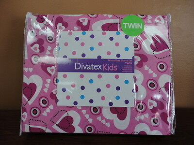 Divatex Kids Pink & White Hearts Twin Size Bed Sheet Set NEW