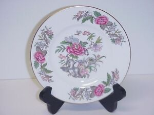 WEDGWOOD-CATHAY-BREAD-BUTTER-PLATE-PINK-BLUE-FLOWERS-BIRDS-C-1950