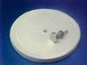 ... WIDE-LOOSE-SEWN-COTTON-BUFFING-WHEEL-W-MANDREL-DIE-DRILL-BENCH-GRINDER