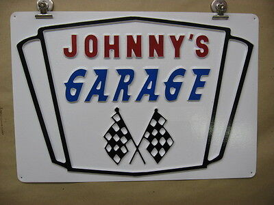 Johnnys Garage Personalized Custom Made 3d Embossed Plastic Sign 12x17 Shop
