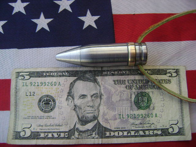 20mm  VULCAN Bullet tip  Necklace Pendant TAN LEATHER
