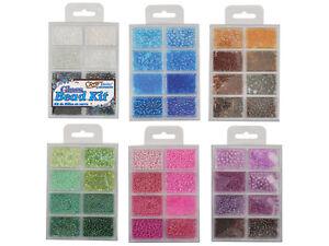 8-Assorted-Glass-Bead-Lot-Mix-Jewelery-Making-Kit-Bugle-Seed-ebead-Metalic-AB