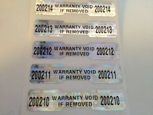 100-WARRANTY-VOID-DOGBONE-HOLOGRAM-SECURITY-LABELS-STICKERS-W-SEQUENTIAL-NUMBERS