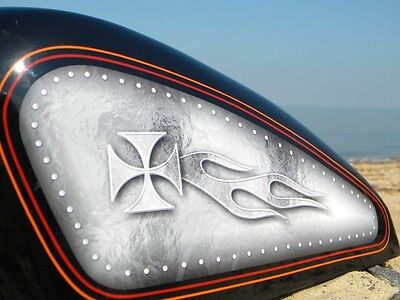 Sportster Gas Tank Decals Iron Cross Riveted Panel Silver/white For Harley