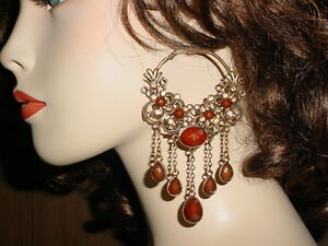 EXQUISITE-HOOP-CHANDELIER-EARRINGS-W-CRYSTAL-BROWN-BEADED