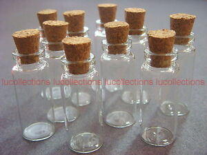Wholesale Lot of 50 Clear Glass Bottles Vials with Corks 2ml