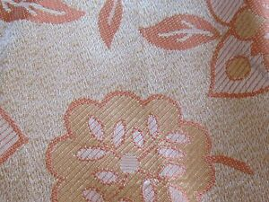 ORANGE DAMASK ART DECO VINTAGE 1940S UPHOLSTERY CURTAIN FABRIC RETRO STYLISED