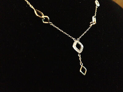 SOLID HALLMARKED 9CT GOLD NECKLACE WITH 0.10 CARAT REAL DIAMOND 18INCH BRAND NEW