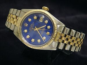 Mens Rolex Two-Tone 18k Gold/Stainless Steel Datejust Date Watch Blue Diamond