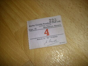 DERBY-v-BLACKBURN-Central-League-15-9-1954-Original-Football-Ticket