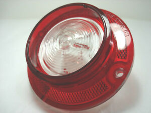 Chevy-63-1963-Back-Up-Lens-Red-Plastic-With-Clear-Center-Guide-Script