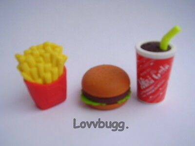"Lovvbugg Hamburger Fries Drink Fast Food Meal for 18"" American Girl Doll Accessory"