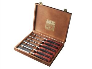 Bahco 424P-S6-EUR 424P-S6 Bevel Edge Chisel Set of 6 in a Wooden Box