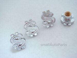 4-Money-Dollar-Sign-Chrome-Tire-Wheel-Stem-Air-Valve-CAPS-bling-set