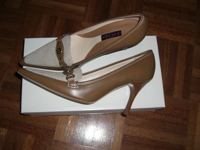 38 Pumps Luxus Escada Damen Schuhe Gold Leder 8 schuhe NP