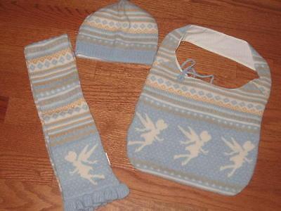 Disney Tinkerbell Ladies Sweater Hobo Bag + Matching Scarf & Hat Wool Nip