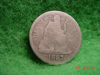 1887  LIBERTY SEATED  DIME   GOOD     SILVER