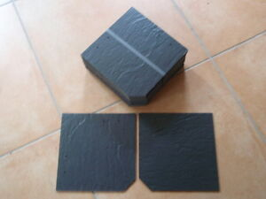 40Faserzementplatten 20x20cm gestutzte Ecke dunkelgrau strukturiert