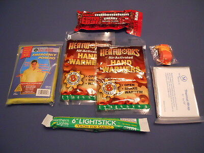 EMERGENCY WINTER SURVIVAL CAR KIT WITH WARMERS LIGHT STICK THERMAL WRAP FOOD BAR