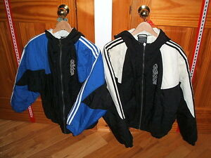 Two Adidas jackets, one white & black, one blue & black Sarnia Sarnia Area image 1