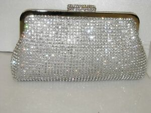 Silver ~New Crystal ~Bridal /Evening Crystal Clutch Bag ☆Free shipping ☆