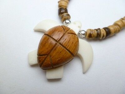 """Hawaiian Jewelry Wood Turtle Necklace Brown With Coco Beads 18"""" Long # 30109"""