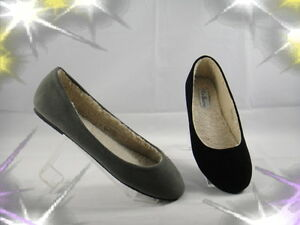 Black-Taupe-Suede-Round-Toe-Ballet-Fur-Warm-Flat-Shoes-Size-5-6-7-8-9-10