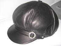 NEUF!!  CHAPEAU en CUIR ** FEMME ** Leather Hat