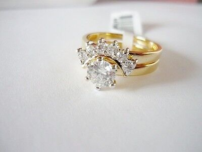 Size 8 - 1 Ct Round CZ Wedding & Engagement Ring Set  on Rummage