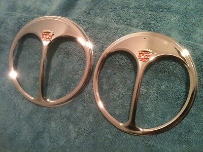 Pair of Cadillac Automobiles Headlight Parts vintage ShieldsRare