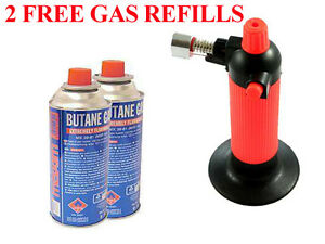 GAS-REFILLABLE-BLOW-TORCH-SOLDERING-WELDING-COOKING-GUN-2-FREE-BUTANE-REFILLS