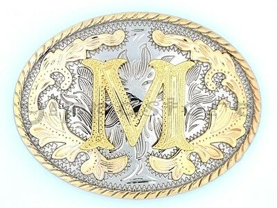 """Initial """"M"""" Letter Oval Gold & Silver Rodeo Western Cowboy Metal Belt Buckle"""