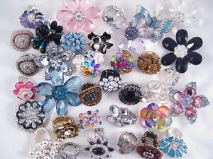 One Dozen Brand New Department Store Crystal Rhinestone Cocktail Stretch Rings