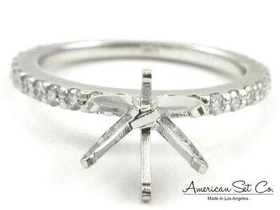 18k White Gold Pave Diamond Petite Engagement Ring Solita...