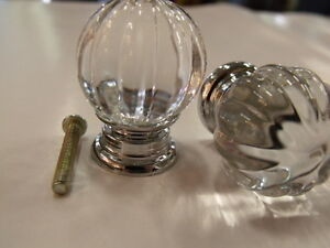 CLEAR CRYSTAL DRESSER  VANITY DRAWER HANDLE KNOB KNOBS 30mm NEW DESIGN