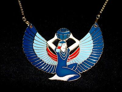 Egyptian Goddess Isis Open Wings Necklaces Solid Brass