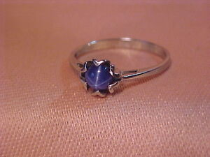 #1933-10K WHITE GOLD * STAR SAPPHIRE* RING-SIZE 6 1/2-$95.00