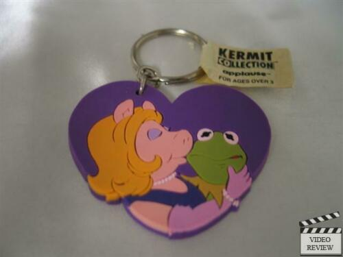 Kermit & Piggy vinyl heart keychain, Muppets; Applause NEW