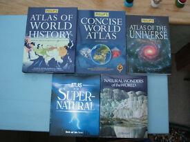 5 off Large Reference Books - Atlas/World/Universe/Wonders