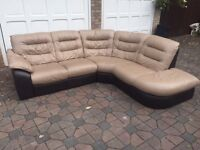 VERY GOOD CONDITION! Used L shaped leather sofa and electric reclining arm chair