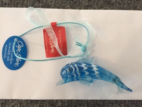 "NWT Cape Shore Light Blue Blown Glass Dolphin 3"""
