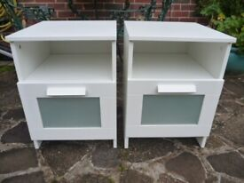 Pair of IKEA White Bedside Cabinets