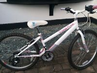 """Raleigh Krush Girl's Bike, 24"""" wheels, white, barely used, excellent condition, ideal ages 8-10"""