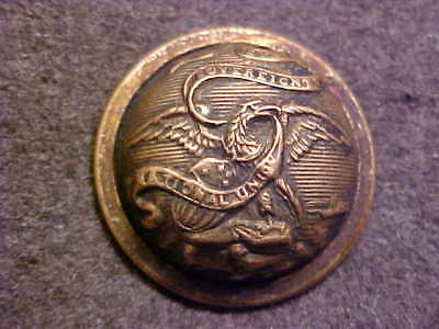 RARE ILLINOIS STATE 7/8 DOMED BRASS UNIFORM COAT BUTTON WORK BROS & CO