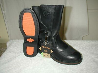NEW IN BOX Women's Black Cody Harley Riding Leather Motorcycle Boots Size 8.5