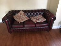Ox blood 2 and 3 seater chesterfield perfect condition